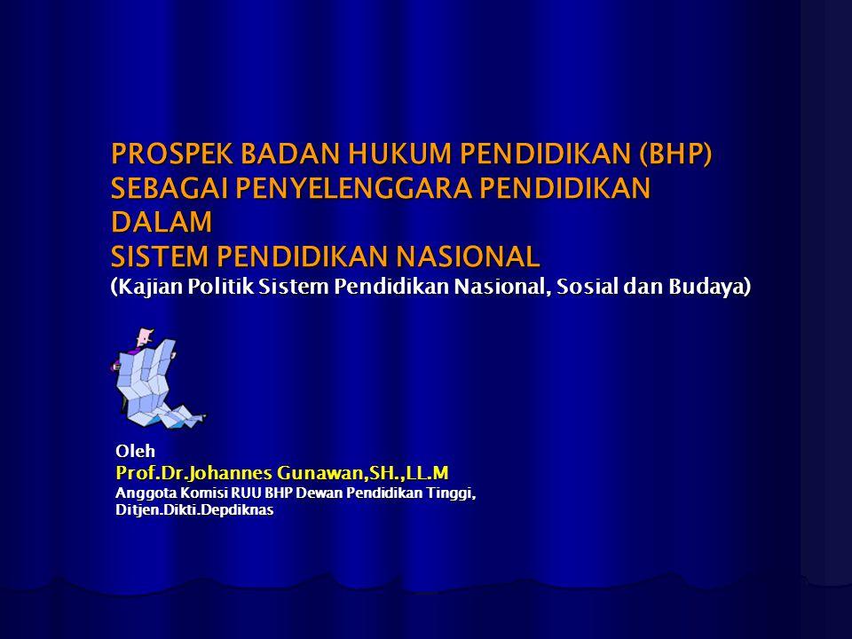 PROSPEK BADAN HUKUM PENDIDIKAN (BHP) SEBAGAI PENYELENGGARA PENDIDIKAN DALAM SISTEM PENDIDIKAN NASIONAL (Kajian Politik Sistem Pendidikan Nasional, Sos
