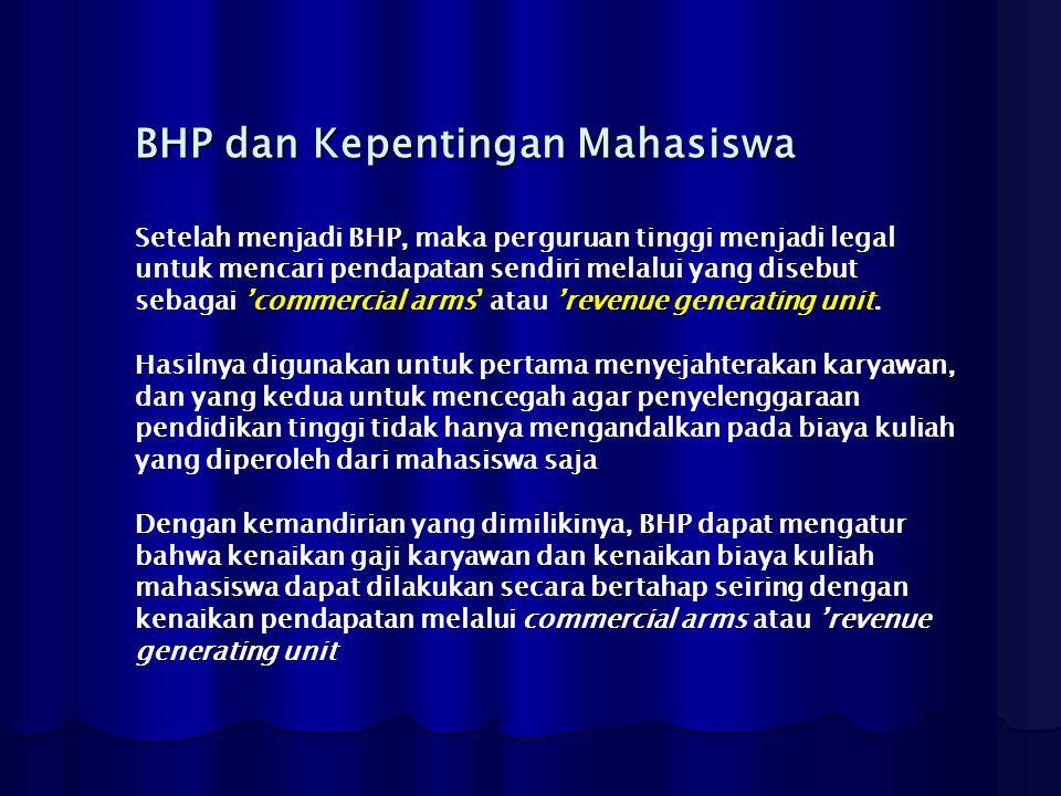 BHP dan Kepentingan Mahasiswa Setelah menjadi BHP, maka perguruan tinggi menjadi legal untuk mencari pendapatan sendiri melalui yang disebut sebagai '