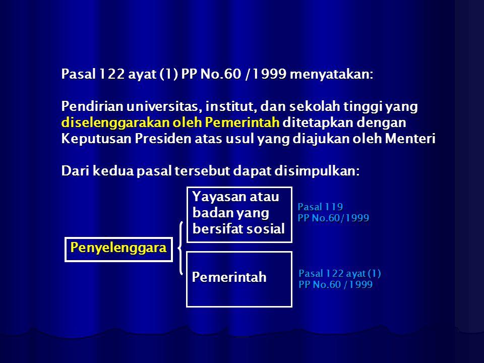 Pasal 122 ayat (1) PP No.60 /1999 menyatakan: Pendirian universitas, institut, dan sekolah tinggi yang diselenggarakan oleh Pemerintah ditetapkan deng