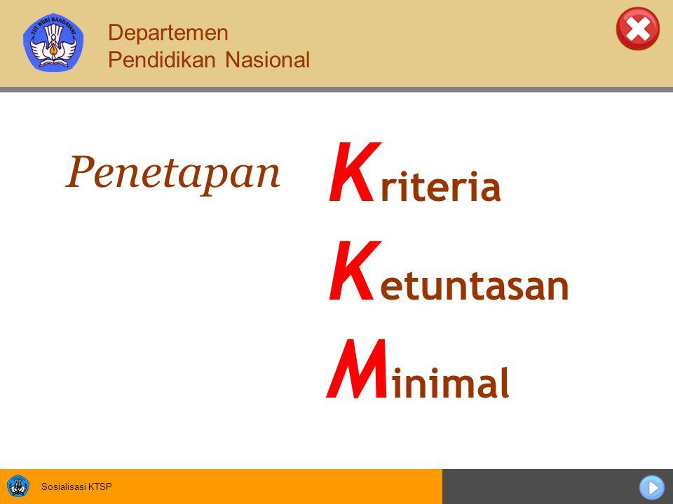 Sosialisasi KTSP K riteria K etuntasan M inimal Penetapan Departemen Pendidikan Nasional
