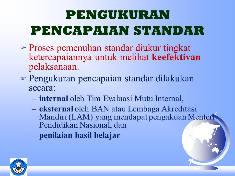 F Proses pemenuhan standar diukur tingkat ketercapaiannya untuk melihat keefektivan pelaksanaan. F Pengukuran pencapaian standar dilakukan secara: –in