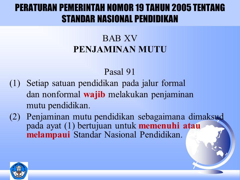 PERATURAN PEMERINTAH NOMOR 19 TAHUN 2005 TENTANG STANDAR NASIONAL PENDIDIKAN BAB XV PENJAMINAN MUTU Pasal 91 (1) Setiap satuan pendidikan pada jalur formal dan nonformal wajib melakukan penjaminan mutu pendidikan.