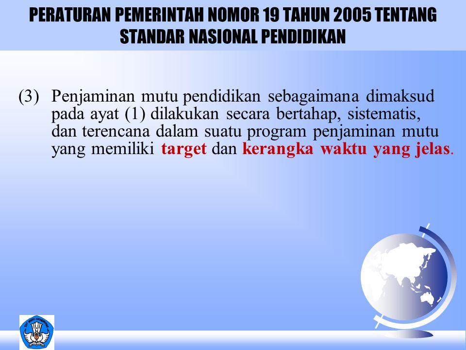 PERATURAN PEMERINTAH NOMOR 19 TAHUN 2005 TENTANG STANDAR NASIONAL PENDIDIKAN BAB XV PENJAMINAN MUTU Pasal 92 (1)Menteri mensupervisi dan membantu satuan perguruan tinggi melakukan penjaminan mutu.