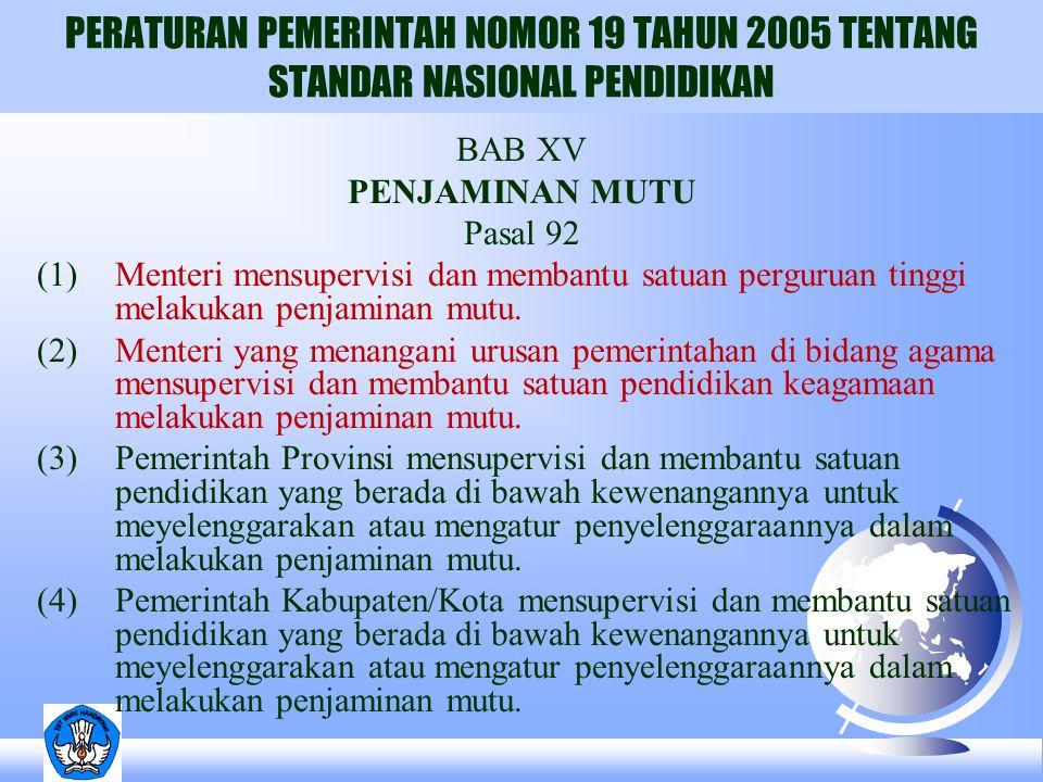 PERATURAN PEMERINTAH NOMOR 19 TAHUN 2005 TENTANG STANDAR NASIONAL PENDIDIKAN BAB XV PENJAMINAN MUTU Pasal 92 (1)Menteri mensupervisi dan membantu satu