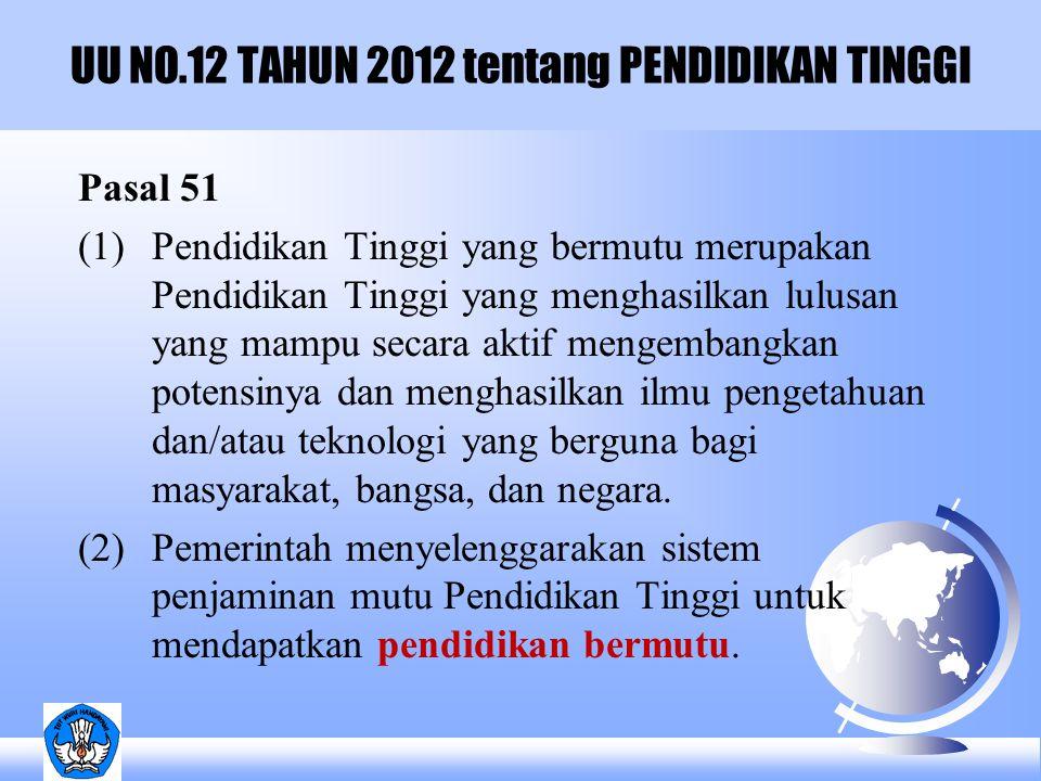 UU NO.12 TAHUN 2012 tentang PENDIDIKAN TINGGI Pasal 51 (1) Pendidikan Tinggi yang bermutu merupakan Pendidikan Tinggi yang menghasilkan lulusan yang m