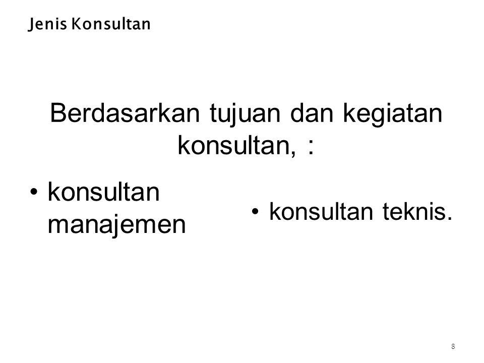 Berdasarkan tujuan dan kegiatan konsultan, : Jenis Konsultan konsultan manajemen konsultan teknis. 8