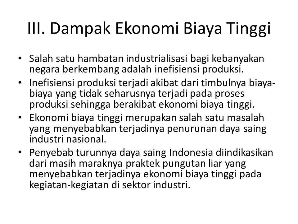 III. Dampak Ekonomi Biaya Tinggi Salah satu hambatan industrialisasi bagi kebanyakan negara berkembang adalah inefisiensi produksi. Inefisiensi produk
