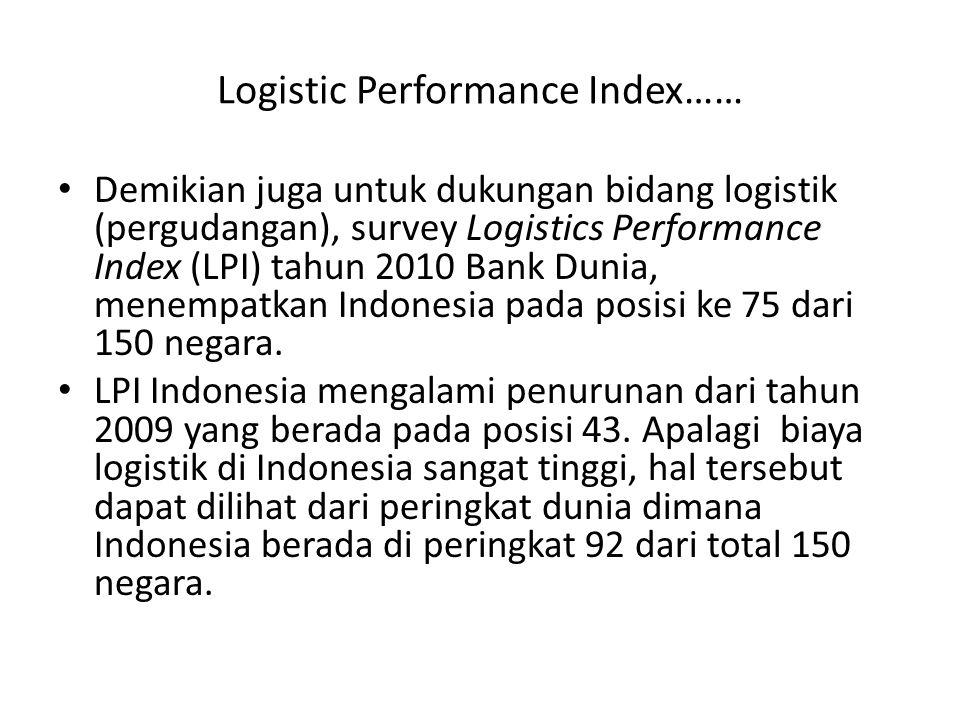 Logistic Performance Index…… Demikian juga untuk dukungan bidang logistik (pergudangan), survey Logistics Performance Index (LPI) tahun 2010 Bank Duni