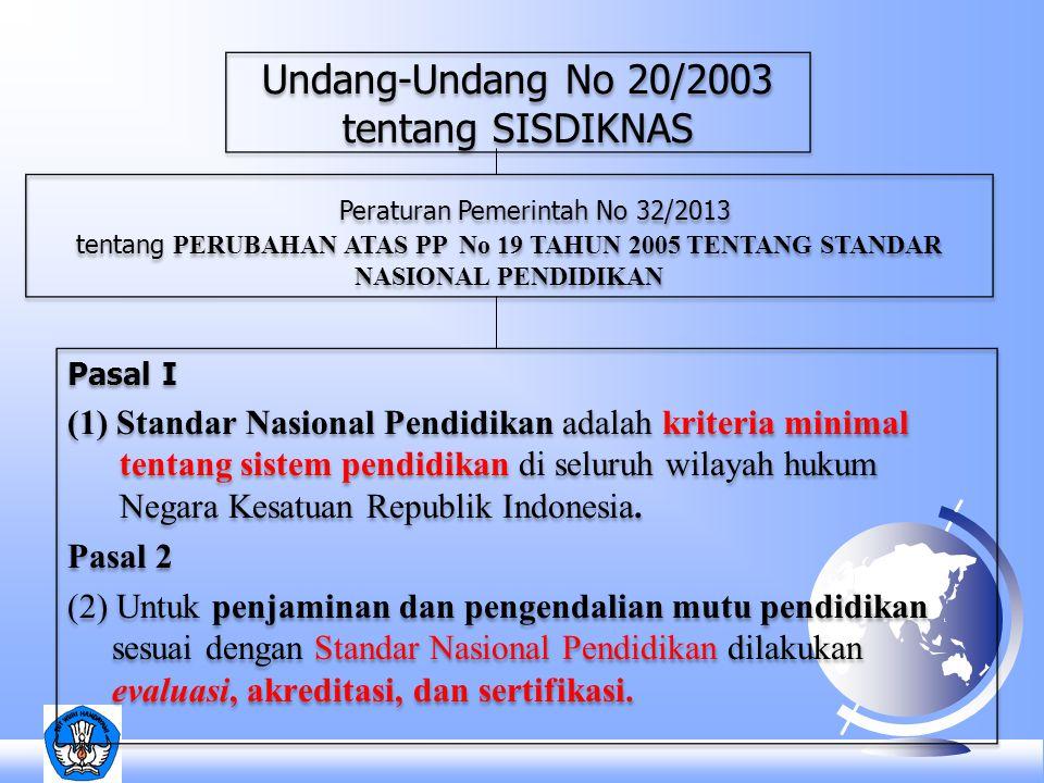 Pasal I (1) Standar Nasional Pendidikan adalah kriteria minimal tentang sistem pendidikan di seluruh wilayah hukum Negara Kesatuan Republik Indonesia.