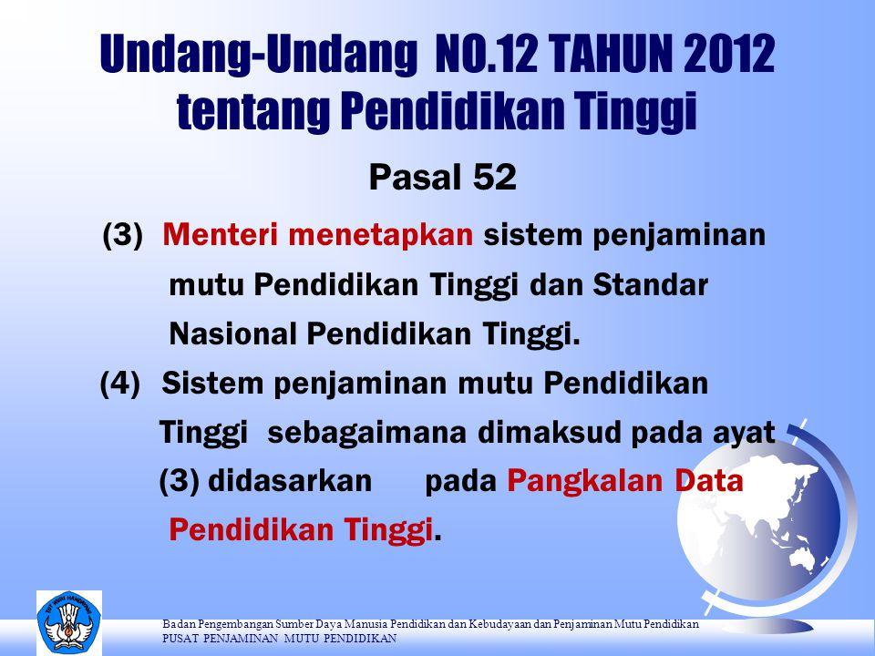 Undang-Undang NO.12 TAHUN 2012 tentang Pendidikan Tinggi Pasal 53 Sistem penjaminan mutu Pendidikan Tinggi sebagaimana dimaksud dalam Pasal 51 ayat (2) terdiri atas: a.