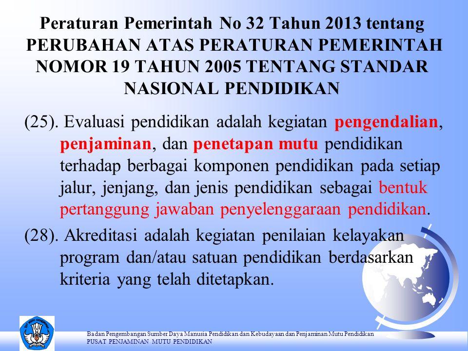 Peraturan Pemerintah No 32 Tahun 2013 tentang PERUBAHAN ATAS PERATURAN PEMERINTAH NOMOR 19 TAHUN 2005 TENTANG STANDAR NASIONAL PENDIDIKAN (25). Evalua