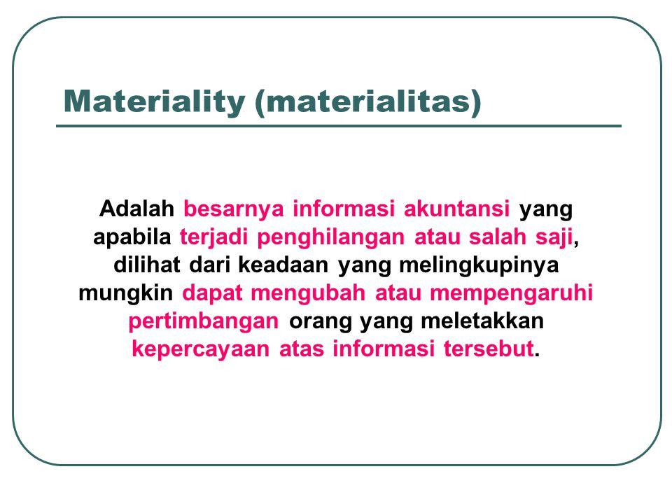 Materiality (materialitas) Adalah besarnya informasi akuntansi yang apabila terjadi penghilangan atau salah saji, dilihat dari keadaan yang melingkupinya mungkin dapat mengubah atau mempengaruhi pertimbangan orang yang meletakkan kepercayaan atas informasi tersebut.
