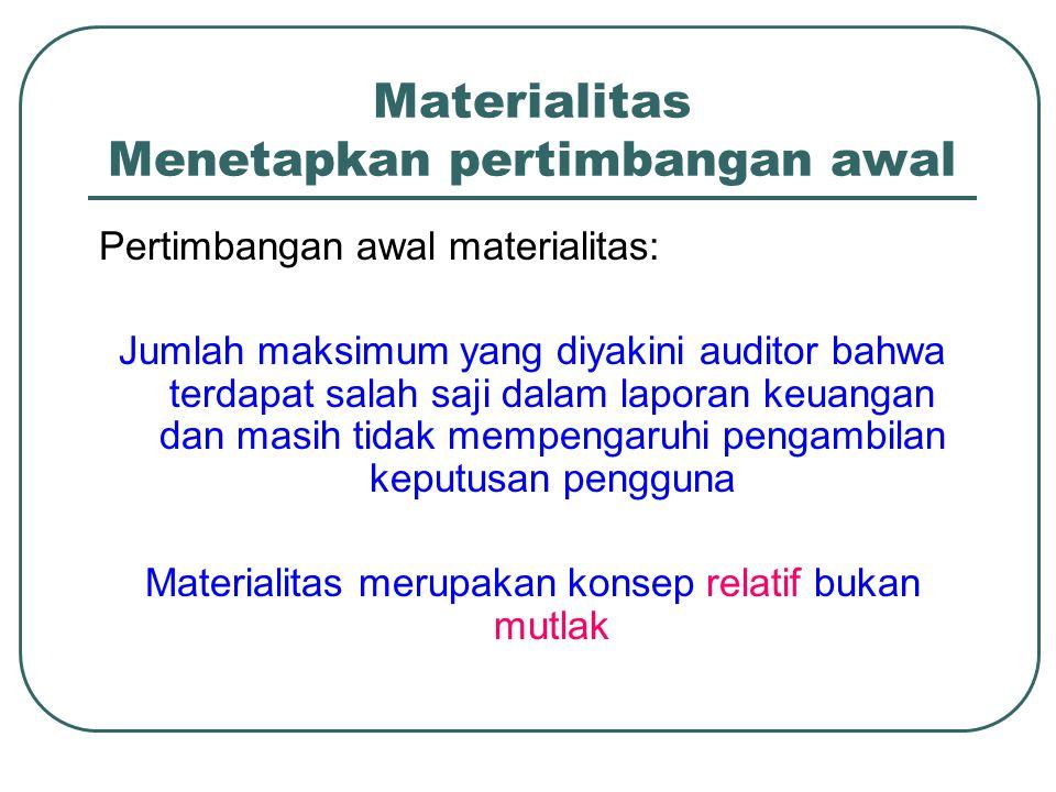 Materialitas Menetapkan pertimbangan awal Pertimbangan awal materialitas: Jumlah maksimum yang diyakini auditor bahwa terdapat salah saji dalam laporan keuangan dan masih tidak mempengaruhi pengambilan keputusan pengguna Materialitas merupakan konsep relatif bukan mutlak