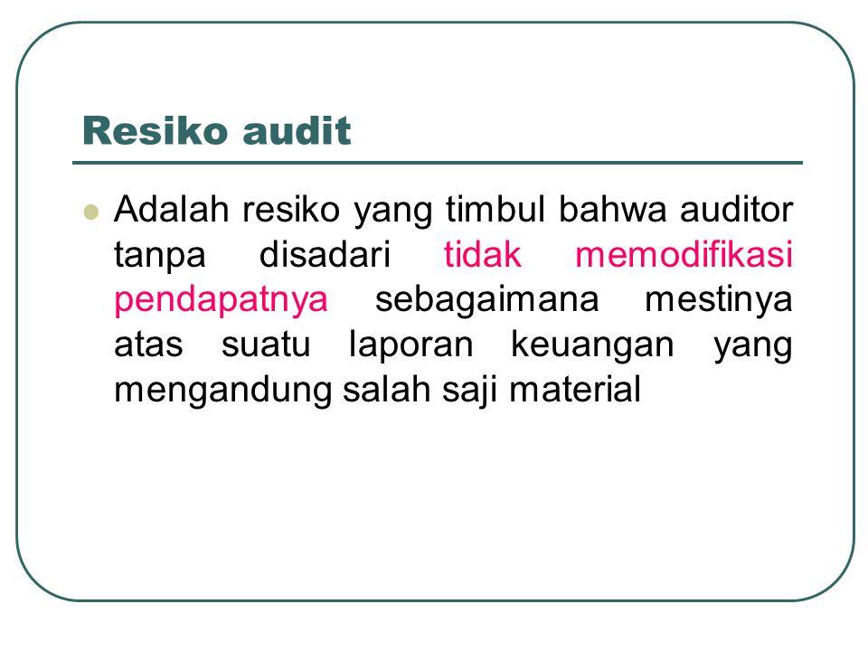 Resiko audit Adalah resiko yang timbul bahwa auditor tanpa disadari tidak memodifikasi pendapatnya sebagaimana mestinya atas suatu laporan keuangan ya