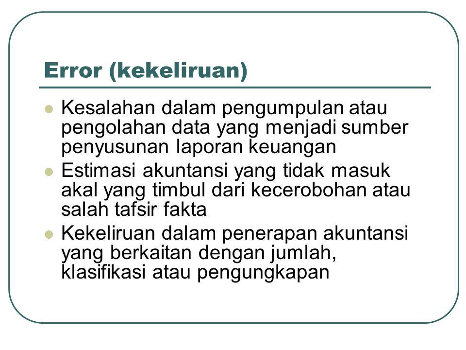 Error (kekeliruan) Kesalahan dalam pengumpulan atau pengolahan data yang menjadi sumber penyusunan laporan keuangan Estimasi akuntansi yang tidak masu