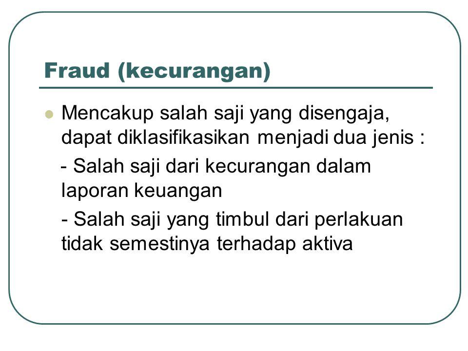 Fraud (kecurangan) Mencakup salah saji yang disengaja, dapat diklasifikasikan menjadi dua jenis : - Salah saji dari kecurangan dalam laporan keuangan - Salah saji yang timbul dari perlakuan tidak semestinya terhadap aktiva