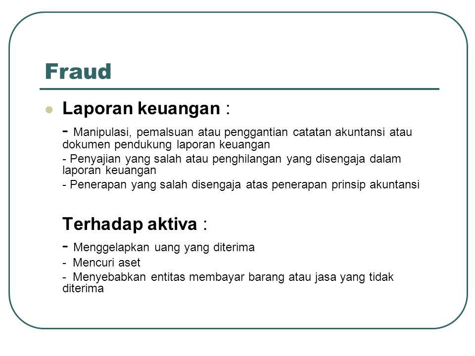 Fraud Laporan keuangan : - Manipulasi, pemalsuan atau penggantian catatan akuntansi atau dokumen pendukung laporan keuangan - Penyajian yang salah atau penghilangan yang disengaja dalam laporan keuangan - Penerapan yang salah disengaja atas penerapan prinsip akuntansi Terhadap aktiva : - Menggelapkan uang yang diterima - Mencuri aset - Menyebabkan entitas membayar barang atau jasa yang tidak diterima