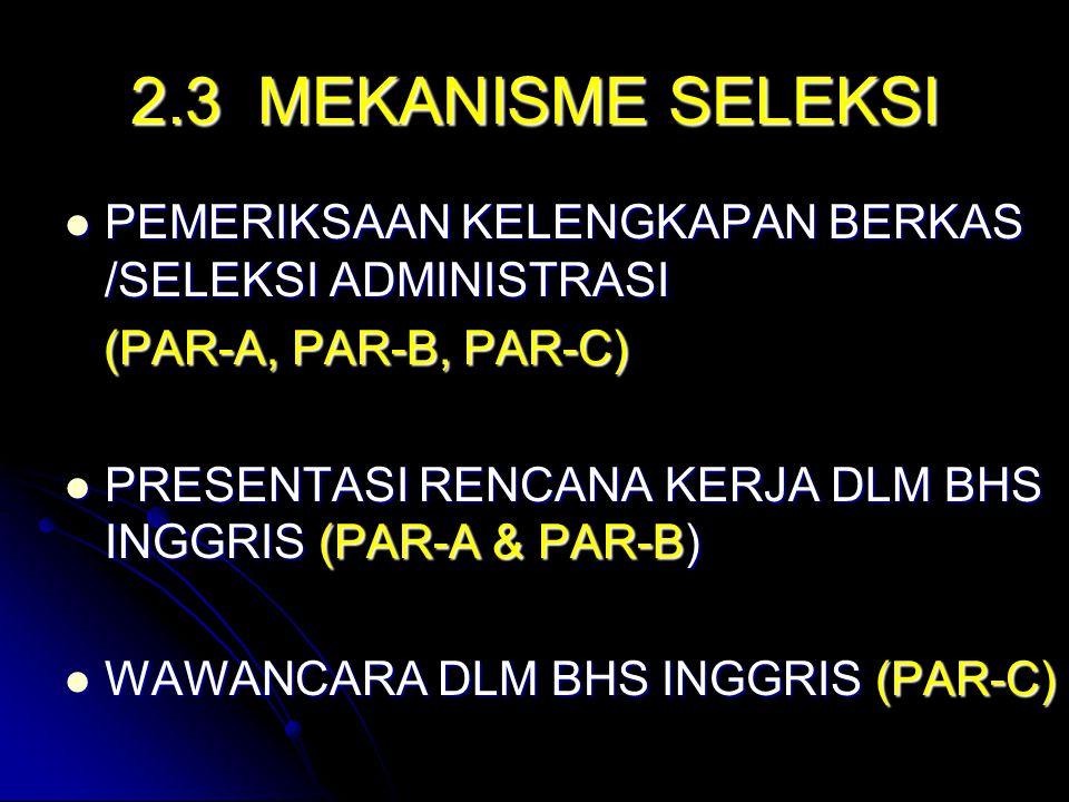 2.3 MEKANISME SELEKSI PEMERIKSAAN KELENGKAPAN BERKAS /SELEKSI ADMINISTRASI PEMERIKSAAN KELENGKAPAN BERKAS /SELEKSI ADMINISTRASI (PAR-A, PAR-B, PAR-C) (PAR-A, PAR-B, PAR-C) PRESENTASI RENCANA KERJA DLM BHS INGGRIS (PAR-A & PAR-B) PRESENTASI RENCANA KERJA DLM BHS INGGRIS (PAR-A & PAR-B) WAWANCARA DLM BHS INGGRIS (PAR-C) WAWANCARA DLM BHS INGGRIS (PAR-C)