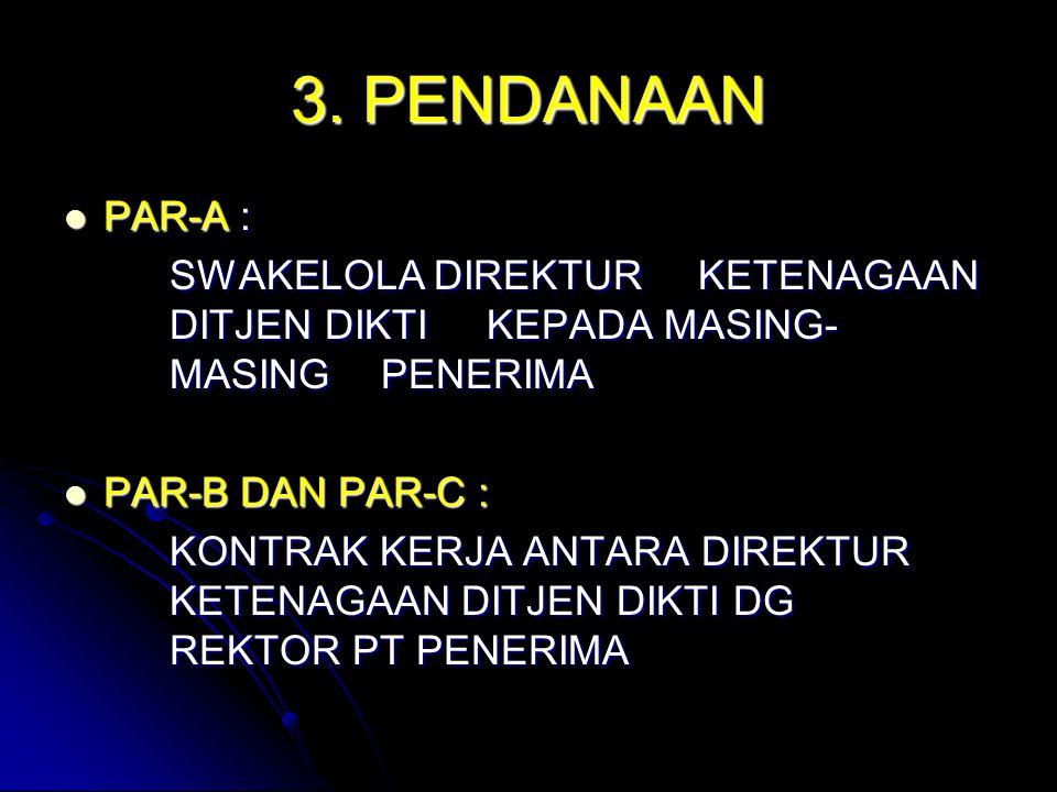 3. PENDANAAN PAR-A : PAR-A : SWAKELOLA DIREKTUR KETENAGAAN DITJEN DIKTI KEPADA MASING- MASING PENERIMA PAR-B DAN PAR-C : PAR-B DAN PAR-C : KONTRAK KER
