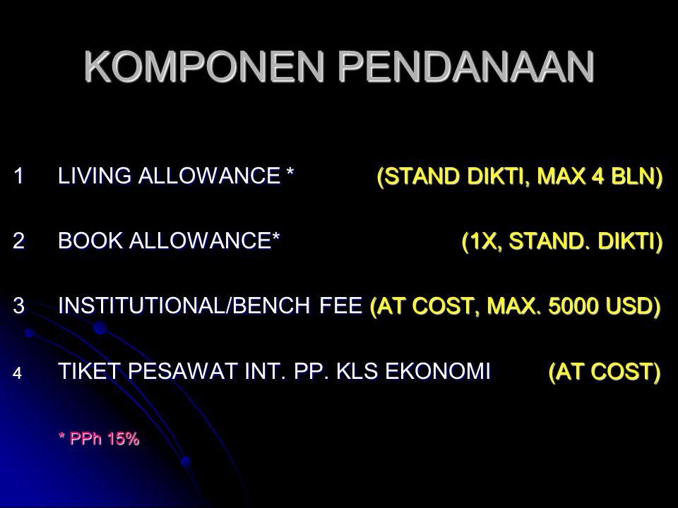 KOMPONEN PENDANAAN 1LIVING ALLOWANCE * (STAND DIKTI, MAX 4 BLN) 2BOOK ALLOWANCE* (1X, STAND.