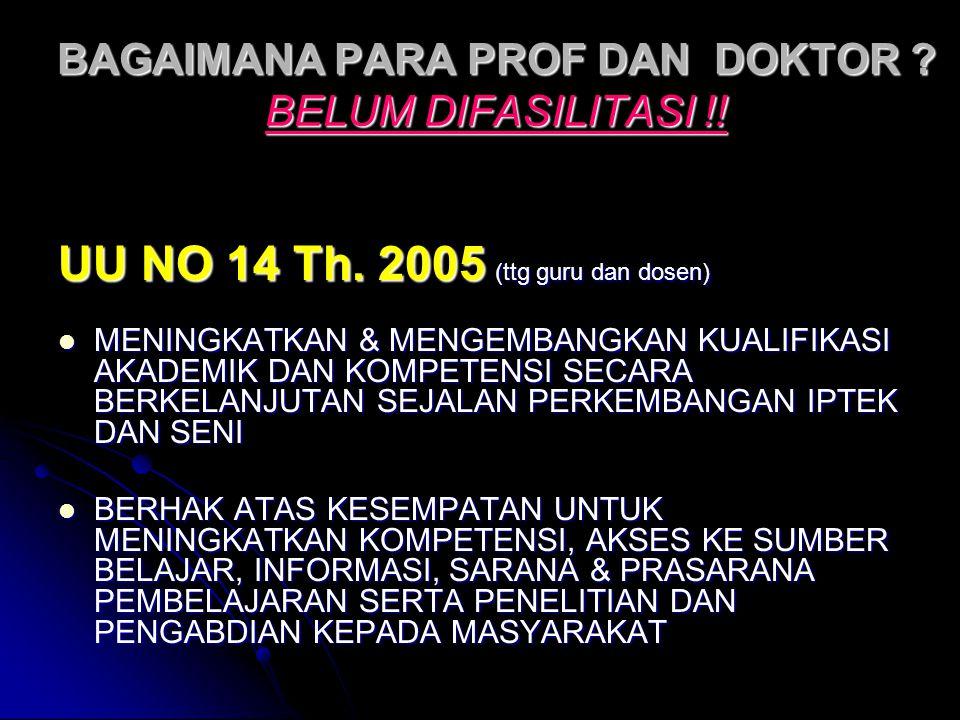 BAGAIMANA PARA PROF DAN DOKTOR ? BELUM DIFASILITASI !! UU NO 14 Th. 2005 (ttg guru dan dosen) MENINGKATKAN & MENGEMBANGKAN KUALIFIKASI AKADEMIK DAN KO