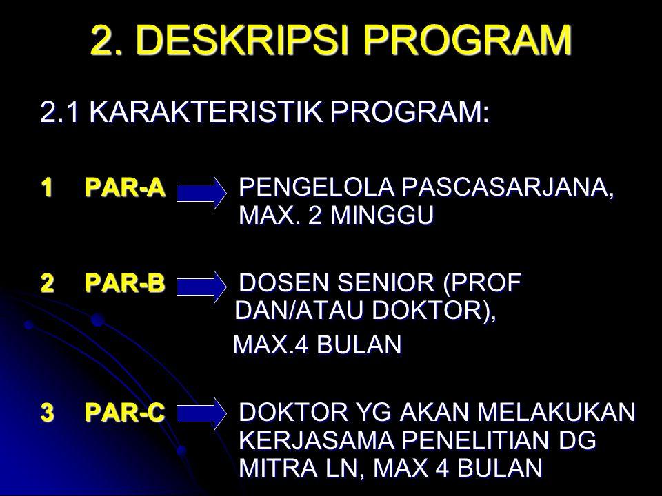 2. DESKRIPSI PROGRAM 2.1 KARAKTERISTIK PROGRAM: 1PAR-APENGELOLA PASCASARJANA, MAX. 2 MINGGU 2PAR-BDOSEN SENIOR (PROF DAN/ATAU DOKTOR), MAX.4 BULAN MAX
