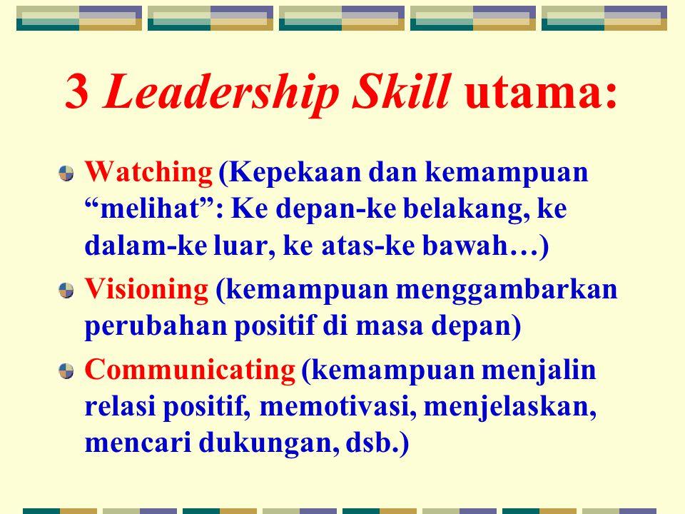 3 Leadership Skill utama: Watching (Kepekaan dan kemampuan melihat : Ke depan-ke belakang, ke dalam-ke luar, ke atas-ke bawah…) Visioning (kemampuan menggambarkan perubahan positif di masa depan) Communicating (kemampuan menjalin relasi positif, memotivasi, menjelaskan, mencari dukungan, dsb.)