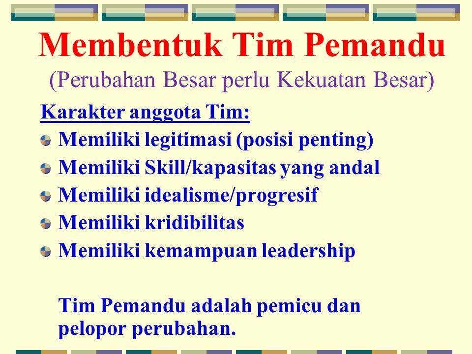 Membentuk Tim Pemandu (Perubahan Besar perlu Kekuatan Besar) Karakter anggota Tim: Memiliki legitimasi (posisi penting) Memiliki Skill/kapasitas yang andal Memiliki idealisme/progresif Memiliki kridibilitas Memiliki kemampuan leadership Tim Pemandu adalah pemicu dan pelopor perubahan.