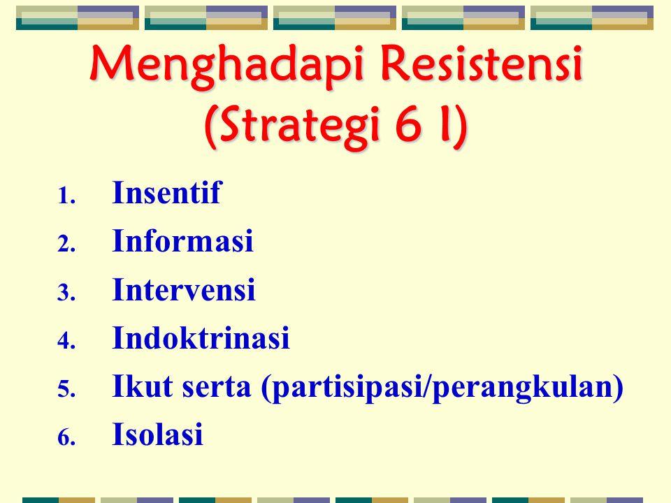 Menghadapi Resistensi (Strategi 6 I) 1.Insentif 2.