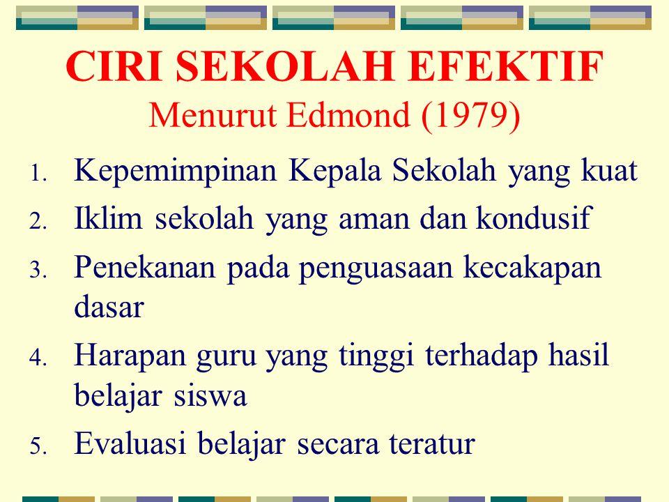 CIRI SEKOLAH EFEKTIF Menurut Edmond (1979) 1.Kepemimpinan Kepala Sekolah yang kuat 2.
