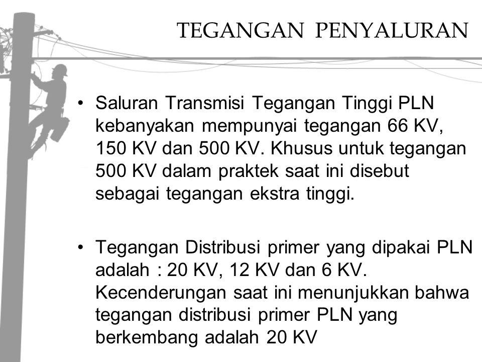 TEGANGAN PENYALURAN Saluran Transmisi Tegangan Tinggi PLN kebanyakan mempunyai tegangan 66 KV, 150 KV dan 500 KV.