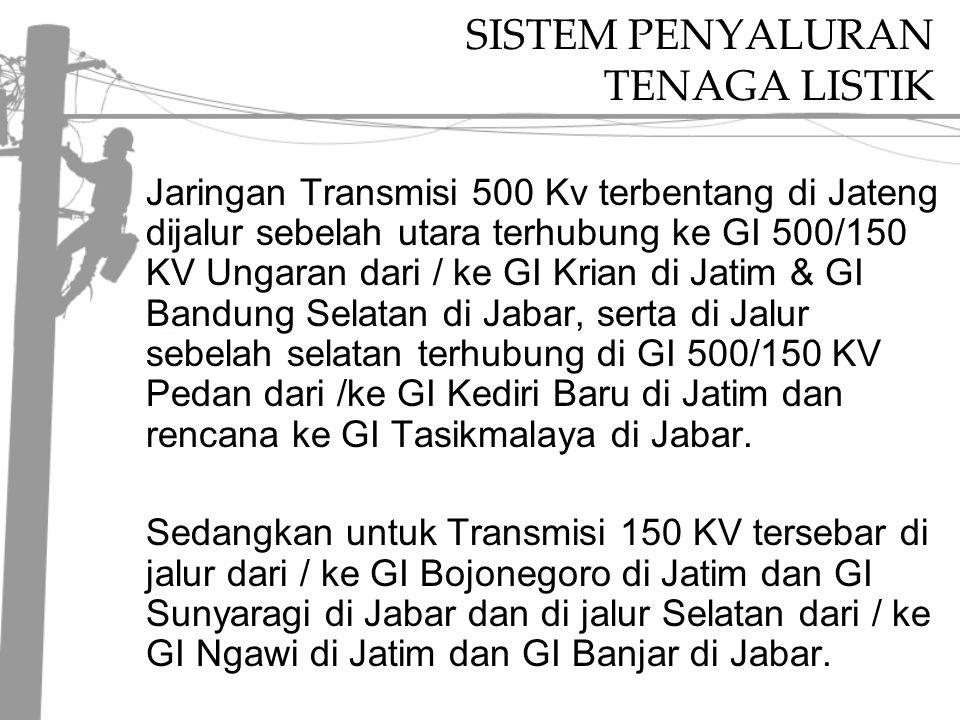 SISTEM PENYALURAN TENAGA LISTIK Jaringan Transmisi 500 Kv terbentang di Jateng dijalur sebelah utara terhubung ke GI 500/150 KV Ungaran dari / ke GI Krian di Jatim & GI Bandung Selatan di Jabar, serta di Jalur sebelah selatan terhubung di GI 500/150 KV Pedan dari /ke GI Kediri Baru di Jatim dan rencana ke GI Tasikmalaya di Jabar.
