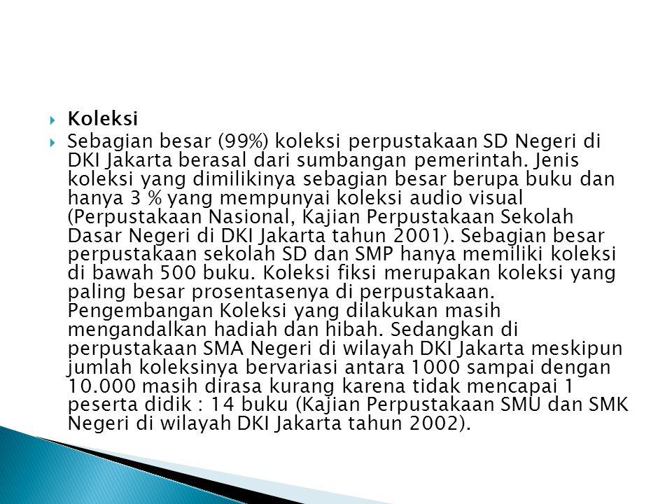  Koleksi  Sebagian besar (99%) koleksi perpustakaan SD Negeri di DKI Jakarta berasal dari sumbangan pemerintah. Jenis koleksi yang dimilikinya sebag