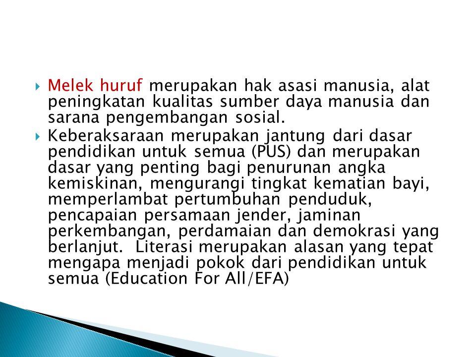  Melek huruf merupakan hak asasi manusia, alat peningkatan kualitas sumber daya manusia dan sarana pengembangan sosial.  Keberaksaraan merupakan jan