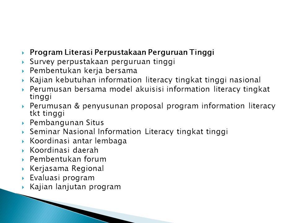  Program Literasi Perpustakaan Perguruan Tinggi  Survey perpustakaan perguruan tinggi  Pembentukan kerja bersama  Kajian kebutuhan information lit