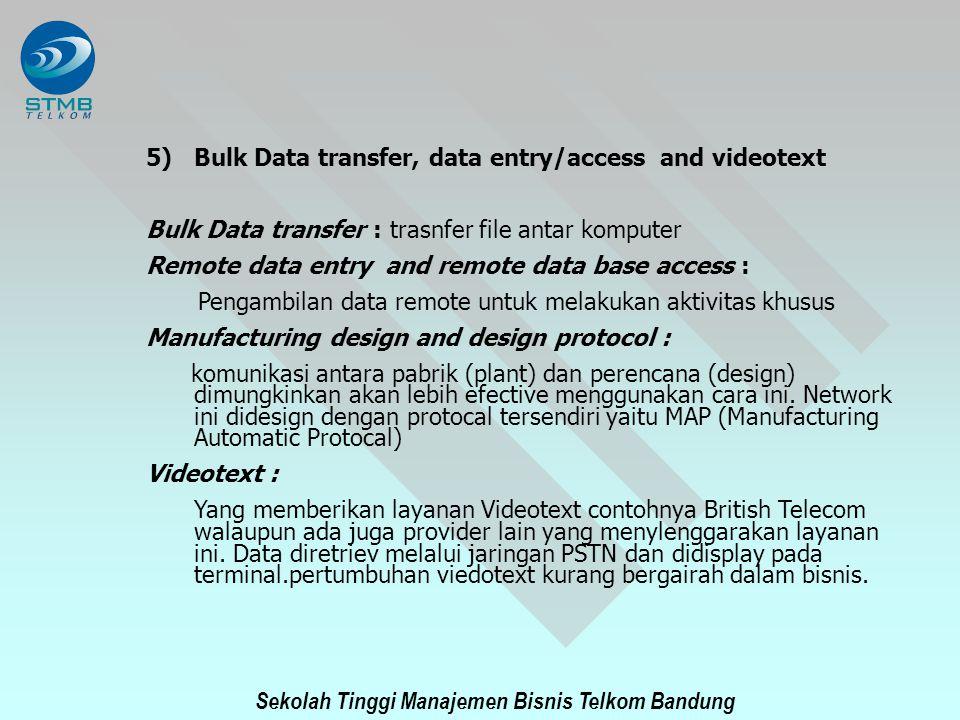 Sekolah Tinggi Manajemen Bisnis Telkom Bandung 5)Bulk Data transfer, data entry/access and videotext Bulk Data transfer : trasnfer file antar komputer