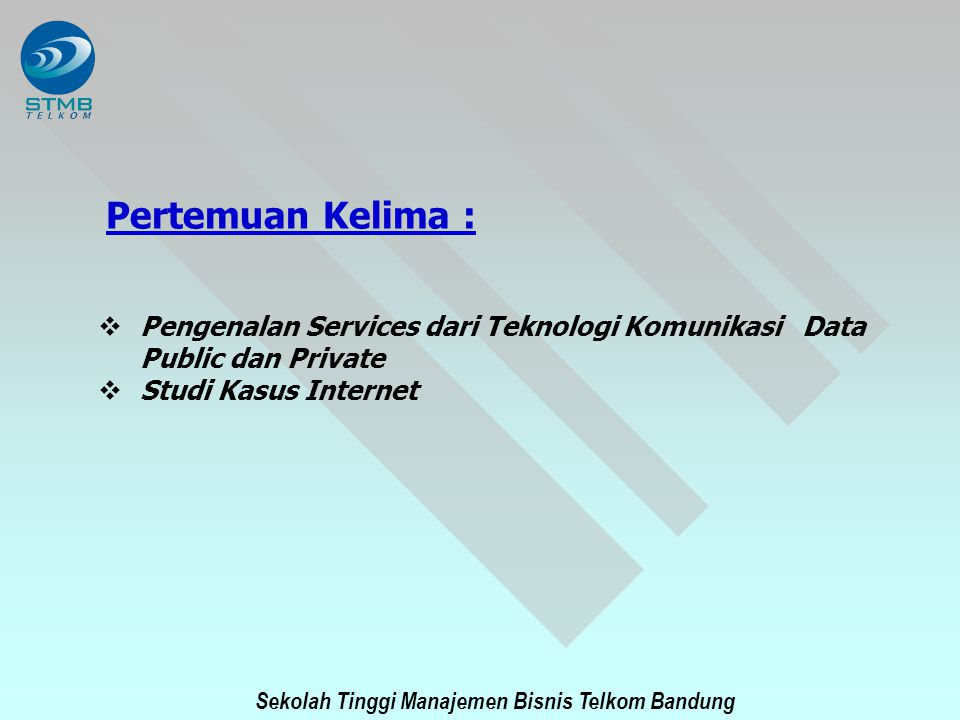 Sekolah Tinggi Manajemen Bisnis Telkom Bandung Impact of Internet on Traditional Public Network - Network Perspectives Access Structure to the Internet Internet Gateways – IPOP (Internet Point of Presence) Traffic Problems for packet transport using Existing Circuit - Switched Network Congestion due to high volume POP traffic High penetration ( > 15 %) of Internet users Performance degradation for long holding time of 20 min.