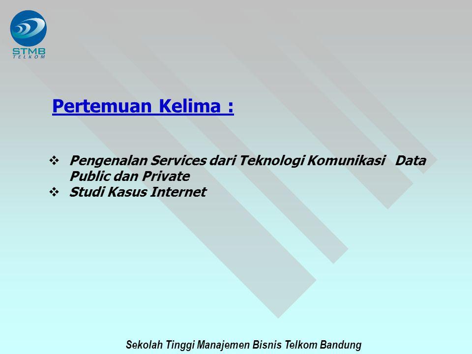 Sekolah Tinggi Manajemen Bisnis Telkom Bandung Pertemuan Kelima :  Pengenalan Services dari Teknologi Komunikasi Data Public dan Private  Studi Kasu