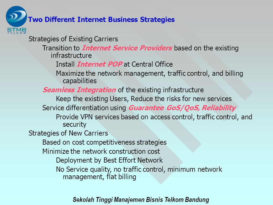 Sekolah Tinggi Manajemen Bisnis Telkom Bandung Two Different Internet Business Strategies Strategies of Existing Carriers Transition to Internet Servi