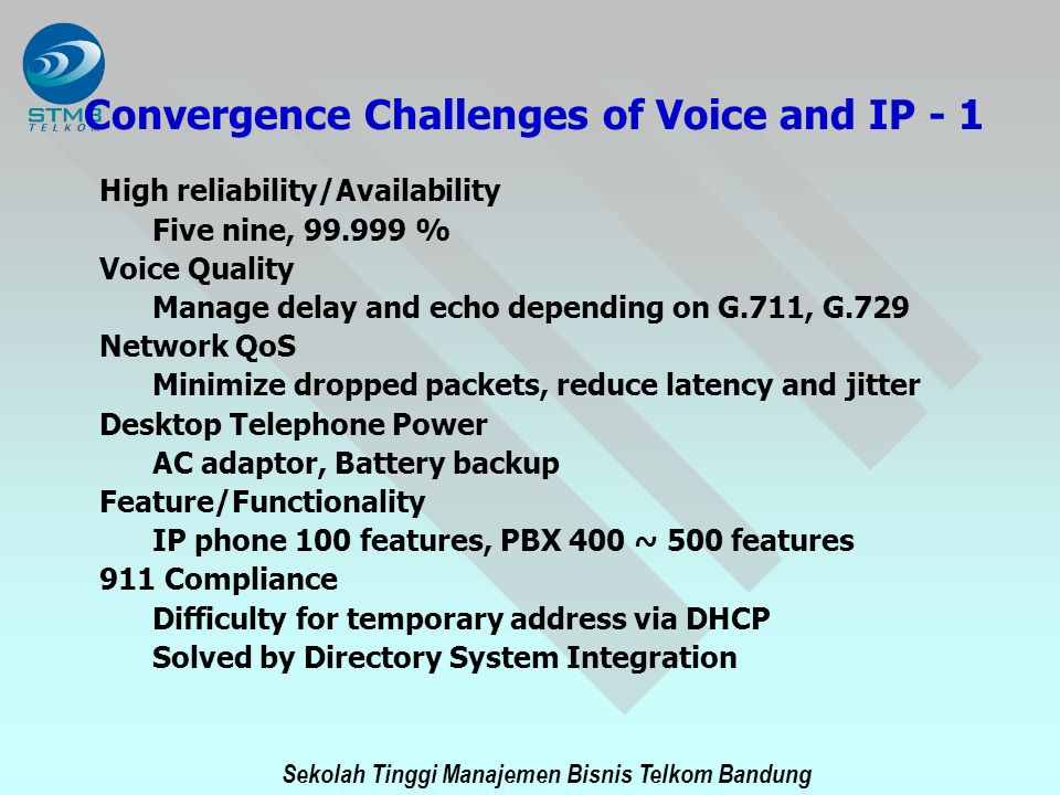 Sekolah Tinggi Manajemen Bisnis Telkom Bandung Convergence Challenges of Voice and IP - 1 High reliability/Availability Five nine, 99.999 % Voice Qual