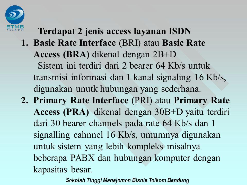 Sekolah Tinggi Manajemen Bisnis Telkom Bandung Terdapat 2 jenis access layanan ISDN 1.Basic Rate Interface (BRI) atau Basic Rate Access (BRA) dikenal