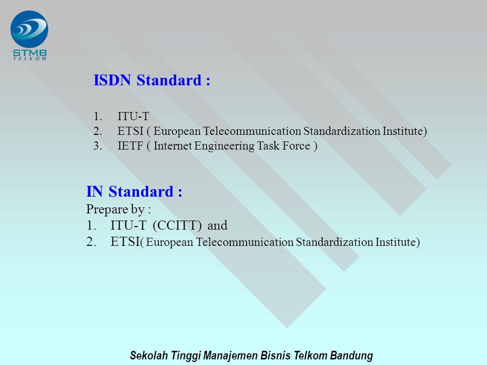 Sekolah Tinggi Manajemen Bisnis Telkom Bandung ISDN Standard : 1.ITU-T 2.ETSI ( European Telecommunication Standardization Institute) 3.IETF ( Interne