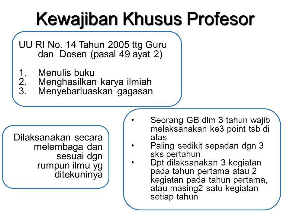 Kewajiban Khusus Profesor UU RI No. 14 Tahun 2005 ttg Guru dan Dosen (pasal 49 ayat 2) 1.Menulis buku 2.Menghasilkan karya ilmiah 3.Menyebarluaskan ga