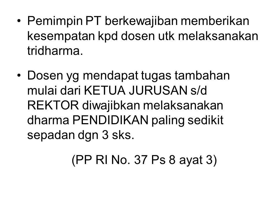 Pemimpin PT berkewajiban memberikan kesempatan kpd dosen utk melaksanakan tridharma.