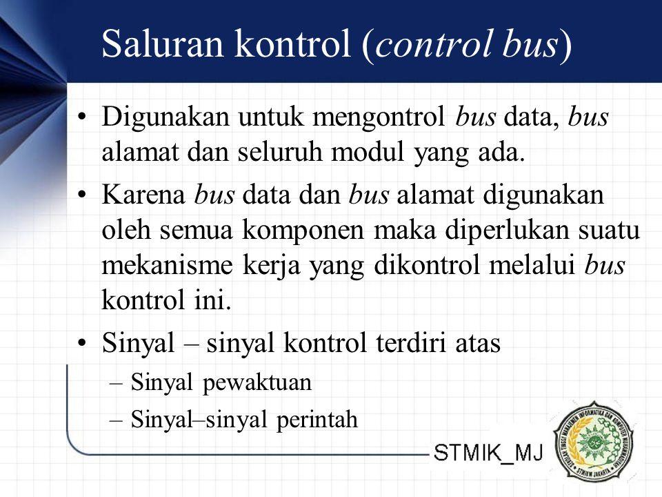 Saluran kontrol (control bus) Digunakan untuk mengontrol bus data, bus alamat dan seluruh modul yang ada.