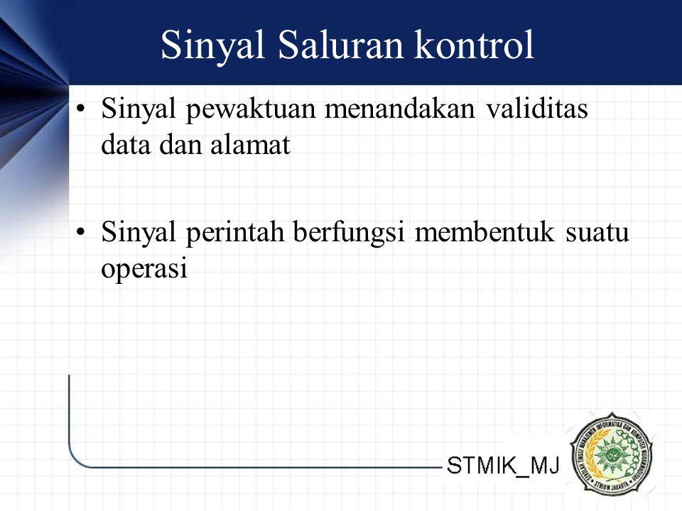 Sinyal Saluran kontrol Sinyal pewaktuan menandakan validitas data dan alamat Sinyal perintah berfungsi membentuk suatu operasi