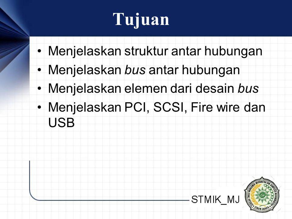 Tujuan Menjelaskan struktur antar hubungan Menjelaskan bus antar hubungan Menjelaskan elemen dari desain bus Menjelaskan PCI, SCSI, Fire wire dan USB