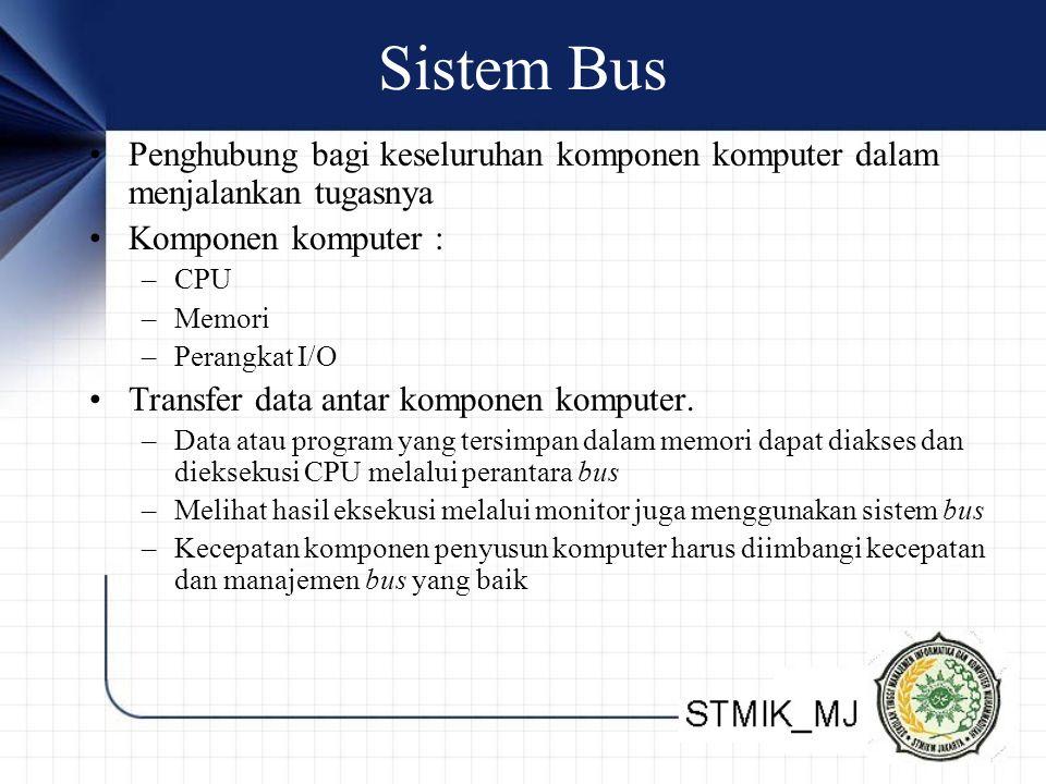 Sistem Bus Penghubung bagi keseluruhan komponen komputer dalam menjalankan tugasnya Komponen komputer : –CPU –Memori –Perangkat I/O Transfer data antar komponen komputer.