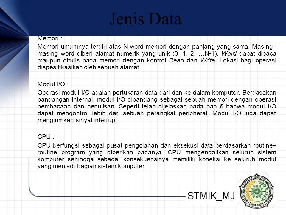 Jenis Data Memori : Memori umumnya terdiri atas N word memori dengan panjang yang sama.