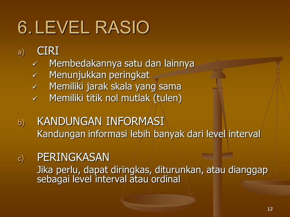 12 6.LEVEL RASIO a) CIRI Membedakannya satu dan lainnya Membedakannya satu dan lainnya Menunjukkan peringkat Menunjukkan peringkat Memiliki jarak skala yang sama Memiliki jarak skala yang sama Memiliki titik nol mutlak (tulen) Memiliki titik nol mutlak (tulen) b) KANDUNGAN INFORMASI Kandungan informasi lebih banyak dari level interval c) PERINGKASAN Jika perlu, dapat diringkas, diturunkan, atau dianggap sebagai level interval atau ordinal